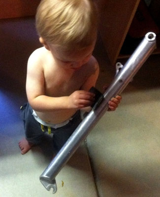 We start them young around here! Slade (the owner's son) is helping with a rebuild.